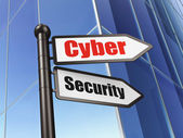 Security concept: sign Cyber Security on Building background — Stock Photo