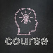 Education concept: Head With Lightbulb and Course on chalkboard background — Stock Photo