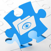 Finance concept: Folder With Eye on puzzle background — Stock Photo