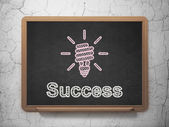 Finance concept: Energy Saving Lamp and Success on chalkboard background — Stock Photo