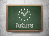 Timeline concept: Clock and Future on chalkboard background — Stock Photo