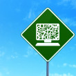 Education concept: Computer Pc on road sign background — Stock Photo