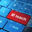 Education concept: Computer Pc and Teach on computer keyboard background — Stock Photo #35742025