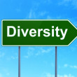 Business concept: Diversity on road sign background — Stock Photo #35743781