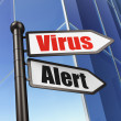 Safety concept: sign Virus Alert on Building background — Zdjęcie stockowe
