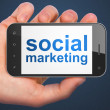 Marketing concept: Social Marketing on smartphone — Stock Photo