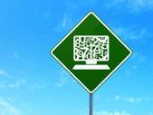 Onderwijs concept: computer pc op weg teken achtergrond — Stockfoto