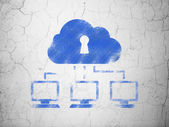 Security concept: Cloud Network on wall background — ストック写真