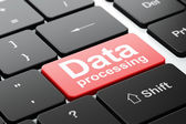 Information concept: Data Processing on computer keyboard background — Stock Photo