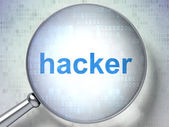 Security concept: Hacker with optical glass — Stock Photo