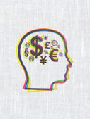 Business concept: Head With Finance Symbol on fabric texture background — ストック写真