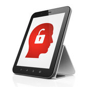 Business concept: Head With Padlock on tablet pc computer — Stock Photo