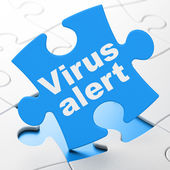 Privacy concept: Virus Alert on puzzle background — ストック写真