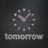 Time concept: Clock and Tomorrow on chalkboard background — Stock fotografie