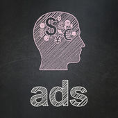 Marketing concept: Head With Finance Symbol and Ads on chalkboard background — Stock Photo