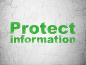 Privacy concept: Protect Information on wall background — Stock Photo