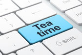 Time concept: Tea Time on computer keyboard background — Stock Photo