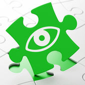 Privacy concept: Eye on puzzle background — Stock Photo