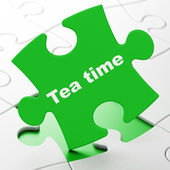 Time concept: Tea Time on puzzle background — Stock fotografie