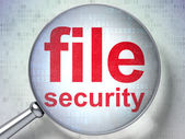 Protection concept: File Security with optical glass — Stock Photo