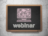 Education concept: Computer Pc and Webinar on chalkboard background — Stock Photo