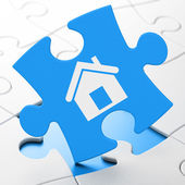 Finance concept: Home on puzzle background — Stock Photo