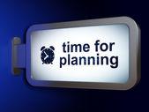 タイムラインの概念: 計画とビルボードの目覚まし時計の時間 — ストック写真
