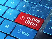Timeline concept: Clock and Save Time on keyboard background — Stock Photo