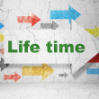 Time concept: arrow whis Life Time on grunge wall background — Foto Stock