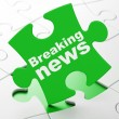 News concept: Breaking News on puzzle background — Stock Photo