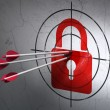 Privacy concept: arrows in Closed Padlock target on wall background — Stock Photo