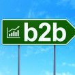 Finance concept: B2b and Growth Graph on road sign background — Stock Photo
