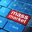 Marketing concept: Mass Market on computer keyboard background — Stock Photo