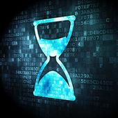 Timeline concept: Hourglass on digital background — Stockfoto