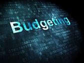 Affärsidé: budgetering på digital bakgrund — Stockfoto