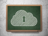 Cloud networking concept: Cloud With Keyhole on chalkboard background — Stock Photo