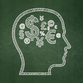 Advertising concept: Head With Finance Symbol on chalkboard background — Stock Photo