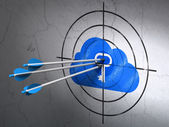 Cloud networking concept: arrows in Cloud With Key target on wall background — Stock Photo