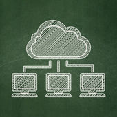 Cloud networking concept: Cloud Network on chalkboard background — Stock Photo
