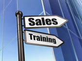 Advertising concept: sign Sales Training on Building background — Stock Photo