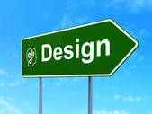 Advertising concept: Design and Head With Gears on road sign background — Stock Photo