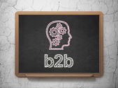 Finance concept: Head With Gears and B2b on chalkboard background — Stock Photo