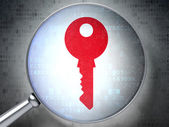 Privacy concept: Key with optical glass on digital background — Stock Photo