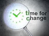 Timeline concept: Clock and Time for Change with optical glass — Stock Photo