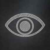 Protection concept: Eye on chalkboard background — Foto Stock