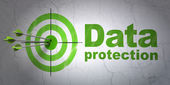 Safety concept: target and Data Protection on wall background — Stock Photo