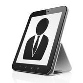 Marketing concept: Business Man on tablet pc computer — Stock Photo