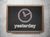Time concept: Clock and Yesterday on chalkboard background — Stock Photo