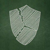 Safety concept: Broken Shield on chalkboard background — Stock Photo