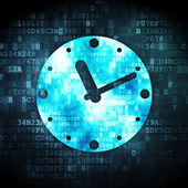 Time concept: Clock on digital background — Stockfoto